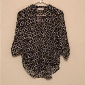 Lush deep v blouse black and white